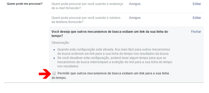 Desativar a exibição do seu perfil do Facebook nos buscadores da Internet (Foto: Reprodução/Lívia Dâmaso)