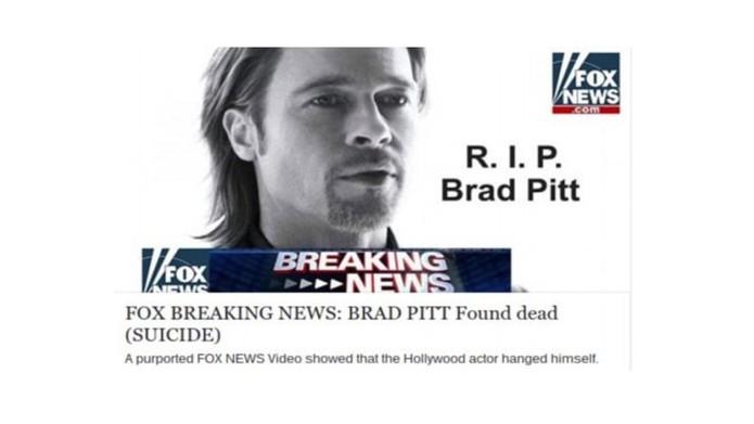 A falsa notícia sobre a morte de Brad Pitt espalha vírus nas redes sociais (Foto: Reprodução/The Next Web)