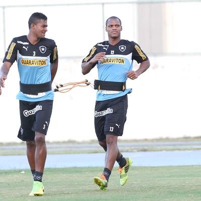 Emerson Sheik, Dankler e André Bahia, Treino Botafogo (Foto: Márcio Mercante / Agência estado)