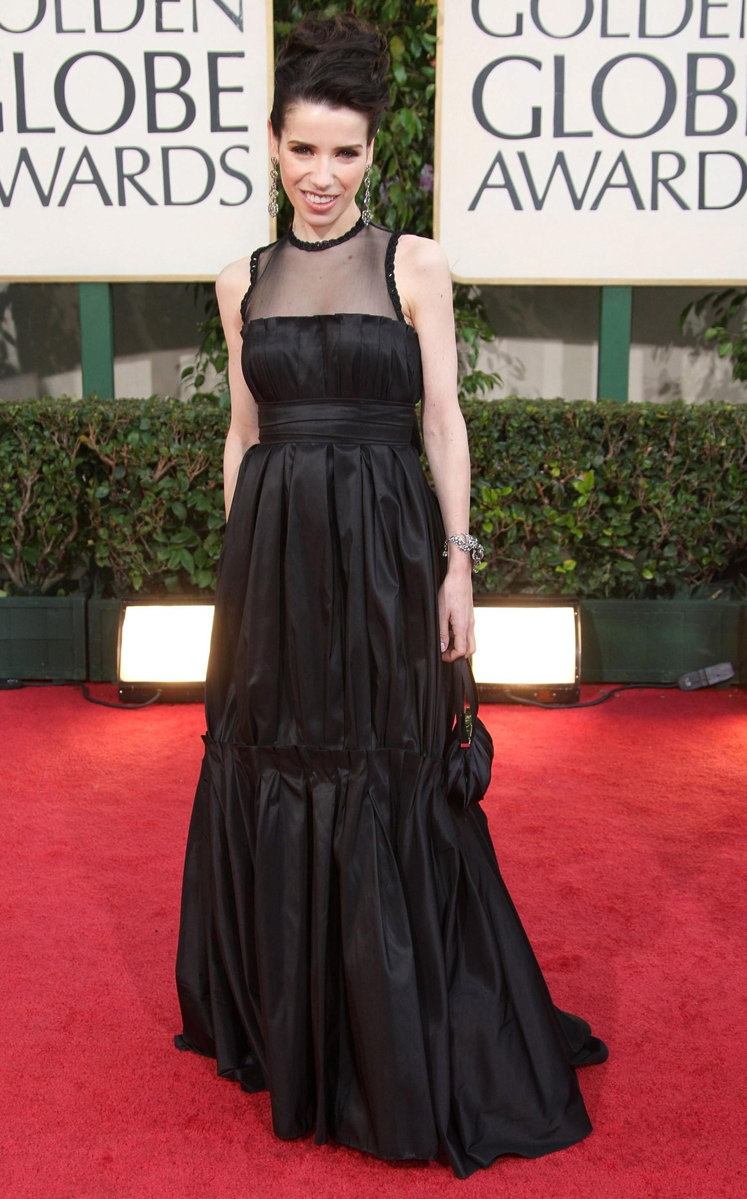 2008 - melhor atriz de comédia ou musical para Sally Hawkins, que não revelou a grife do seu vestido (Foto: Getty Images)
