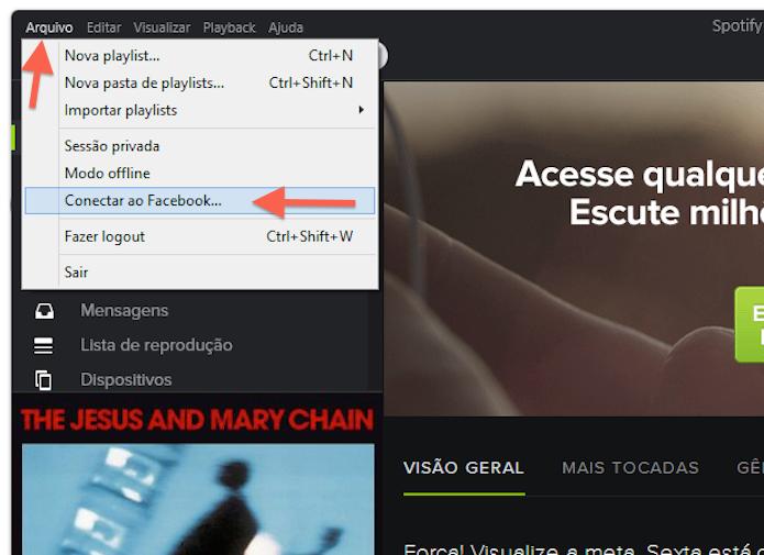 Acessando as configurações de compartilhamento com o Facebook no Spotify (Foto: Reprodução/Marvin Costa) (Foto: Acessando as configurações de compartilhamento com o Facebook no Spotify (Foto: Reprodução/Marvin Costa))