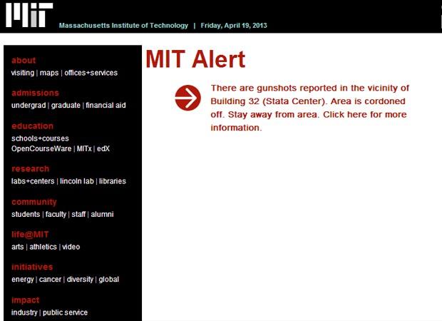 Site do MIT publicou alerta contra atirador nas proximidades do campus (Foto: Reprodução/Site do MIT)
