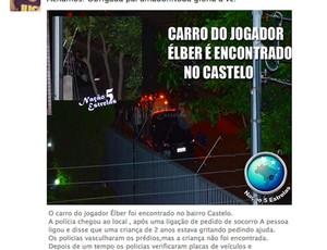 carro Elber Silva encontrado (Foto: Reprodução)