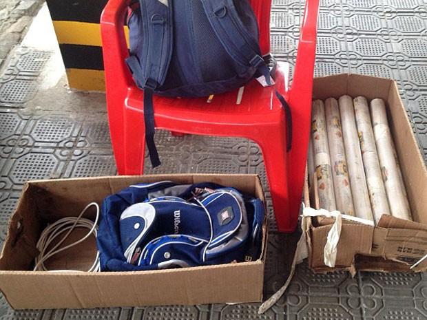 Banas de dinamite foram apreendidas pela polícia potiguar neste domingo (Foto: Pedro Alves)