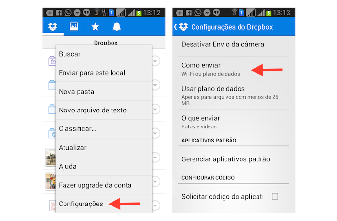 Acessando as opções para envio de arquivos do Dropbox para Android (Foto: Reprodução/Marvin Costa)