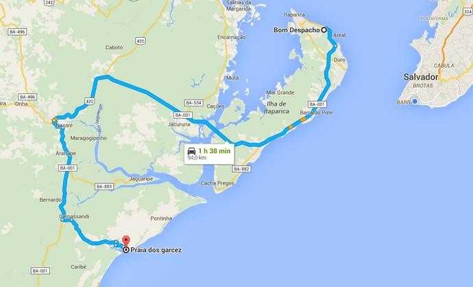 Caminho mais curto é via ferry-boat e BA-001 (Foto: Google Maps)