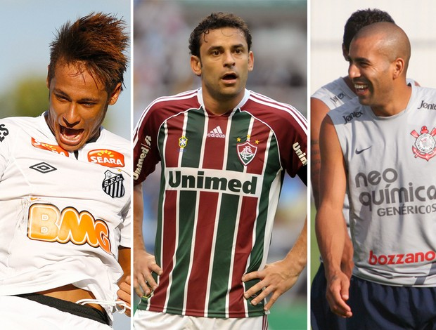 Montagem - Neymar, Fred e Emerson Sheik (Foto: Editoria de Arte / Globoesporte.com)