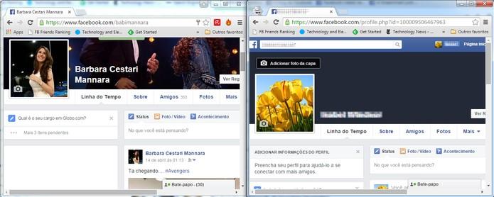 Perfis simultaneamente acessados no Chrome (Foto: Reprodução/Barbara Mannara)