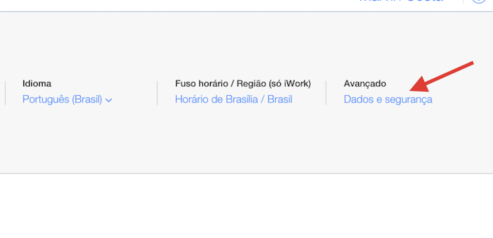 Acessando as configurações de segurança do iCloud.com pelo navegador web (Foto: Reprodução/Marvin Costa)