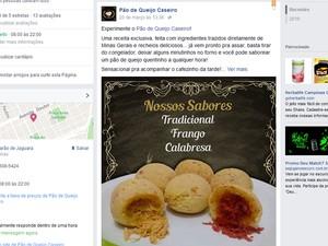 Página criada para venda de pão de queijo e donuts em Campinas (Foto: Reprodução)