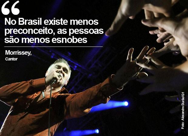 Morrissey durante show no Rio (Foto: Alexandre Durão/G1)
