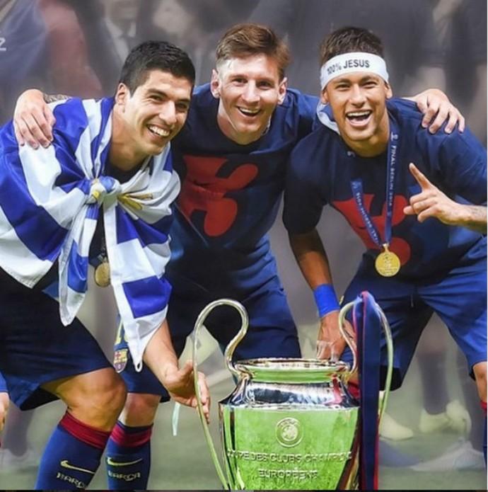 Messi Neymar Suárez final Champions taça (Foto: Reprodução Instagram)