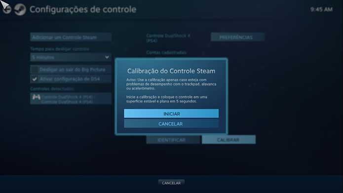 Também dá para calibrar o controle do PS4 no Steam (Foto: Reprodução/Murilo Molina)