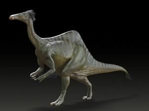 Outra ilustração mostra o Deinocheirus mirificus: dinossauro tinha bico, corcunda e penas  (Foto: Yuong-Nam Lee/KIGAM/Divulgação)