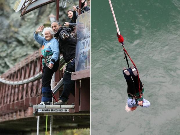 Mary Manssen, de 91 anos, pulando de bungee jump na Nova Zelândia (Foto: AJ Hackett Bungy New Zealand/Divulgação)