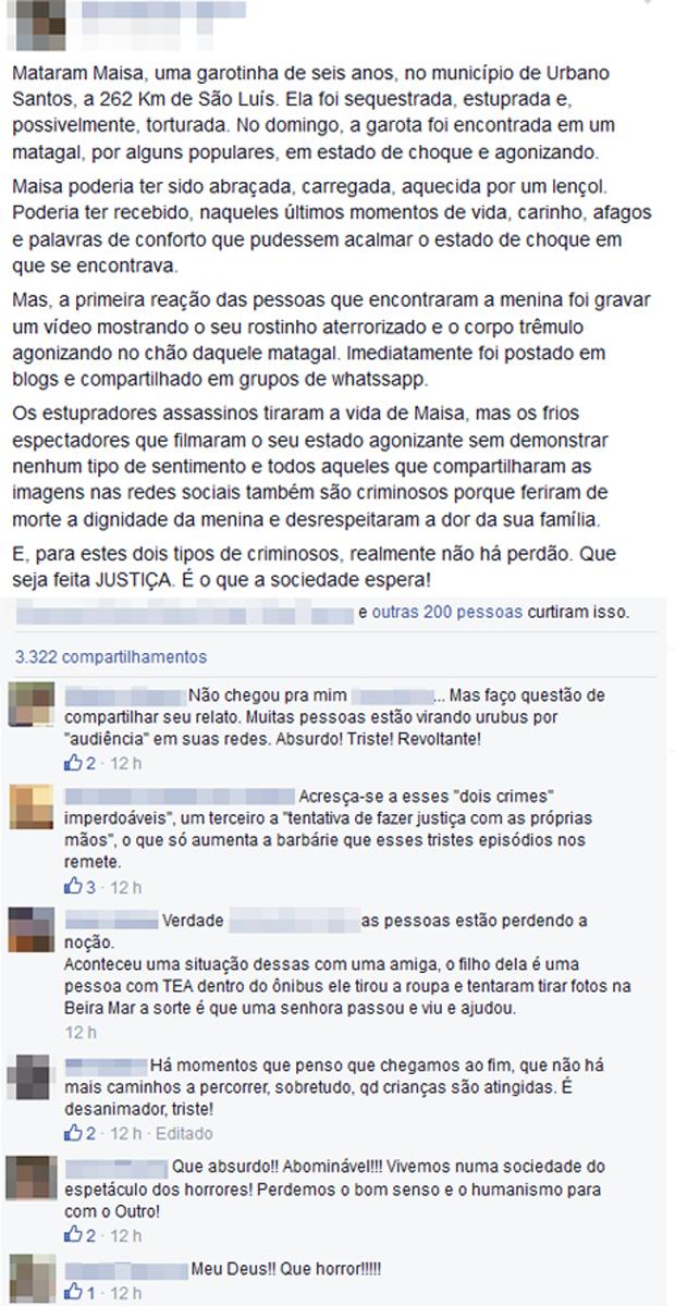 Divulgação de vídeo da criança agonizando chocou várias pessoas nas redes sociais (Foto: Reprodução / Facebook)