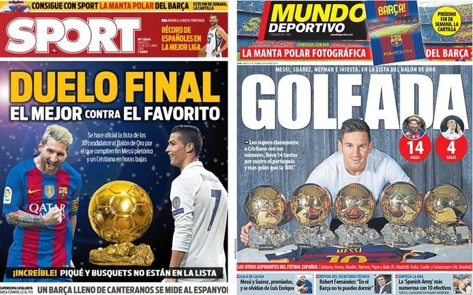 Capas Sport e Mundo Deportivo Bola de Ouro Messi Cristiano Ronaldo (Foto: Reprodução)