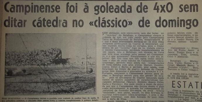 campinense 100 anos, Campinense x botafogo, time de 1964 (Foto: Acervo / Campinense Clube)