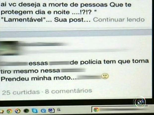 Mulher de Jundiaí  vai para delegacia após postar mensagem contra policiais em rede social (Foto: Reprodução/TV TEM)