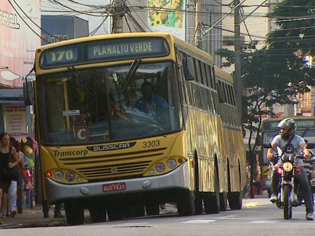Ônibus urbano no Centro de Ribeirão Preto, SP (Foto: Reprodução/EPTV)