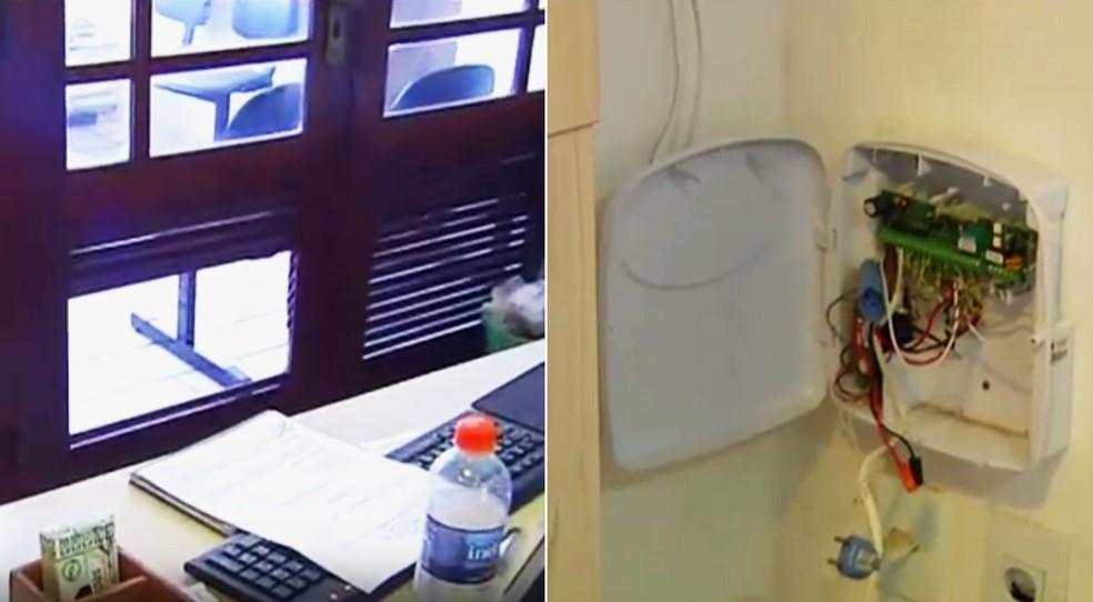 Além de arrombarem prédio, criminosos também desativaram sistema de alarme da associação (Foto: Reprodução/Inter TV Cabugi)