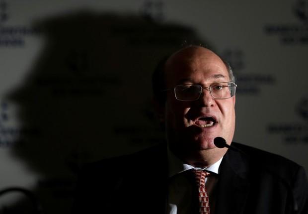 O presidente do Banco Central (BC), Ilan Goldfajn, durante coletiva de imprensa em Brasília (Foto: Ueslei Marcelino/Reuters)