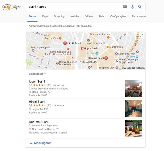 Resultado da busca no Google (Foto: Reprodução/André Sugai)