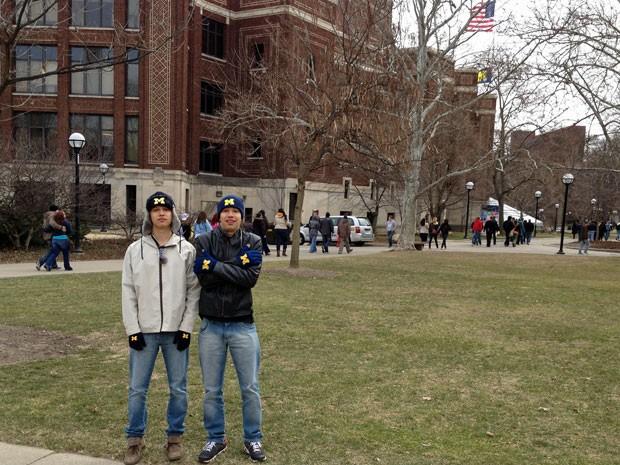 Augusto e Henrique Labella foram visitar a Universidade de Michigan; aulas começam em agosto (Foto: Arquivo pessoal)