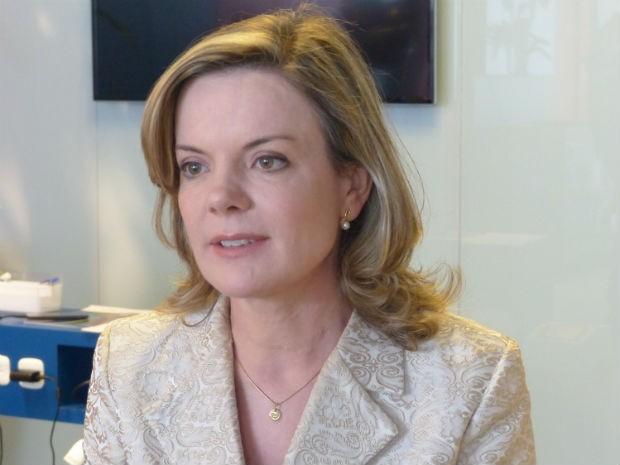 Candidata Gleisi Hoffmann (PT) concedeu entrevista ao G1 nesta terça-feira (16)  (Foto: Adriana Justi / G1)