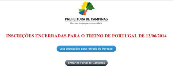 Prefeitura de Campinas encerra inscrição para acompanha treino de Portugal (Foto: Reprodução)