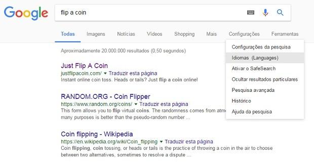 Google flip a coin (Foto: Reprodução)