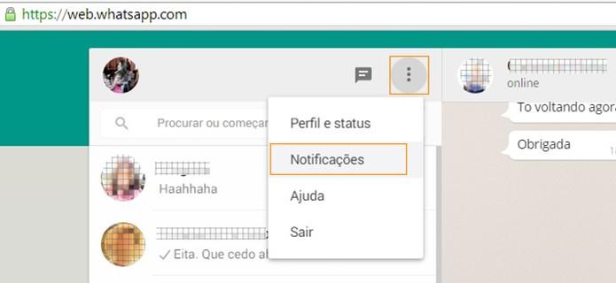 No WhatsApp para computador acesse o menu e em seguida clique em notificações (Foto: Reprodução/Barbara Mannara)