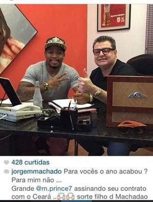 Marinho, instagram, atacante, acordo, Ceará (Foto: Reprodução/Instagram)