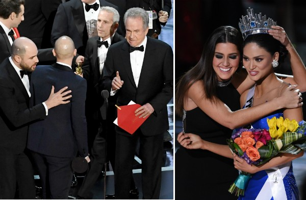 As confusões no Oscar 2017 e no Miss Universo 2015 (Foto: Getty Images)