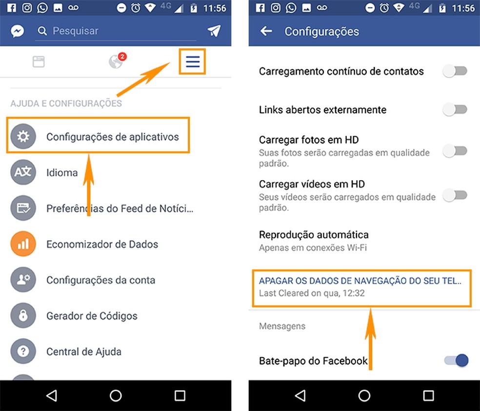 Limpe o cache e cookies do Facebook no Android (Foto: Foto: Reprodução/Barbara Mannara)