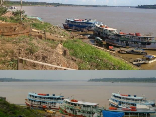 Com o rio abaixo do nível esperado, navegação fica prejudicada por causa de bancos de areia (Foto de cima). Com o nível normal, barcos ficam atracados mais próximos à Estrada de Ferro Madeira Mamoré (Foto de baixo) (Foto: Matheus Henrique/G1)