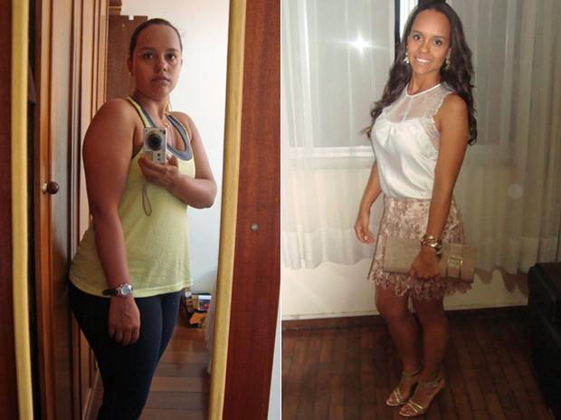 Glaucielle conta que começou a reservar um tempo maior para comer mais devagar e aumentou o consumo de legumes e salada  (Foto: Arquivo pessoal)