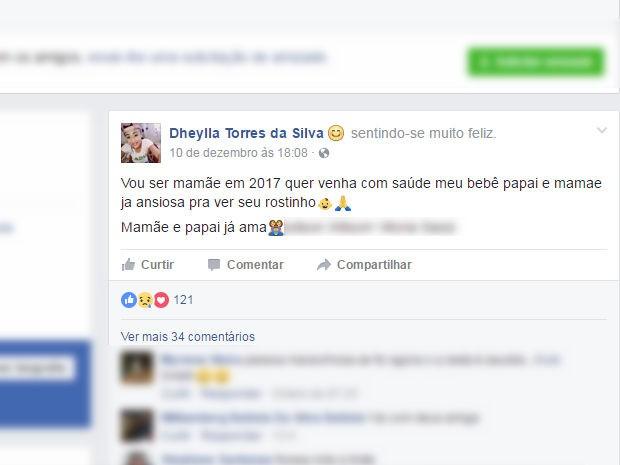 Dheylla anunciou que seria mãe e declarou estar ansiosa para ver o rosto do futuro filho (Foto: Reprodução/ Facebook)