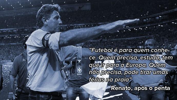 Renato Portaluppi, após a conquista do penta da Copa do Brasil  (Foto: Arte sobre foto de Lucas Uebel / Grêmio, DVG)
