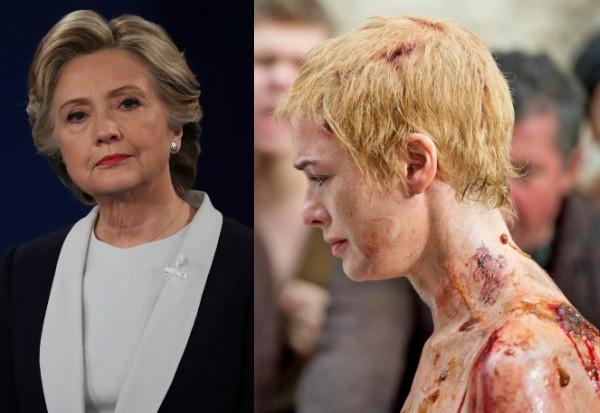 Hillary Clinton e Lena Headey no papel de Cersei Lannister em Game of Thrones (Foto: Getty Images/Reprodução)