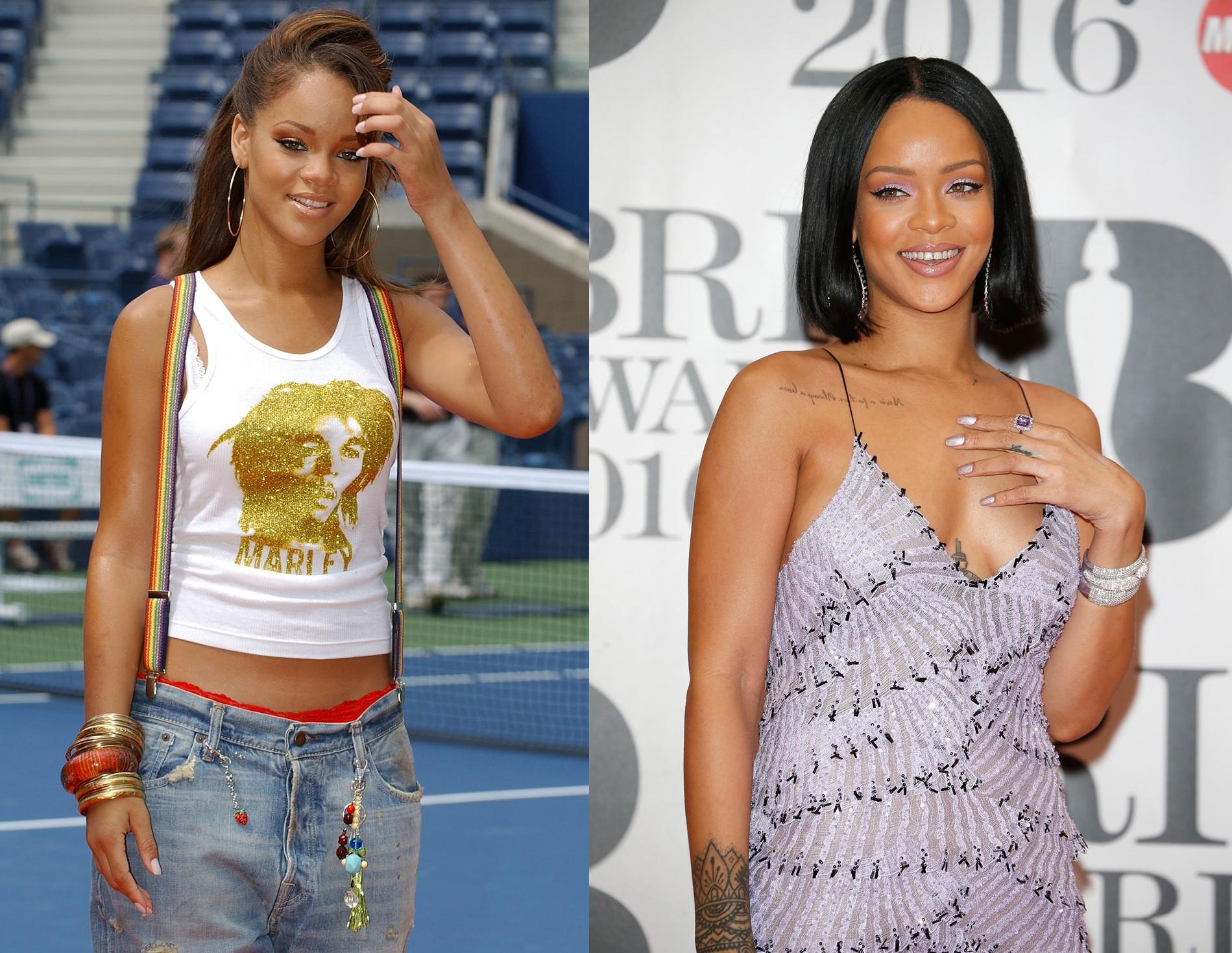 Rihanna em 2005 e em 2016 (Foto: Getty Images)