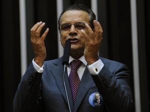 Henrique Eduardo Alves durante discurso no plenário da Câmara (Foto: Agência Câmara)