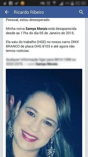 Noivo da vítima pediu ajuda nas redes sociais (Foto: Reprodução/Facebook)