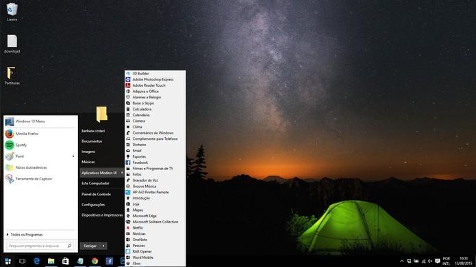 Start10 coloca o Iniciar do Windows 7 no Windows 10 (Foto: Reprodução/Barbara Mannara)