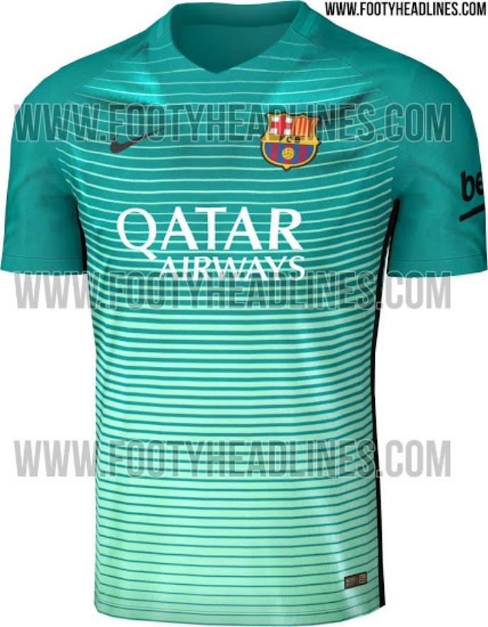 4cf9f2bf90e06 Barcelona terceira camisa 2016 17 (Foto  Reprodução   Footy Headlines)