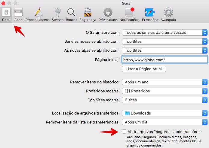 Desativando a abertura de arquivos após o download (Foto: Reprodução/Helito Bijora)