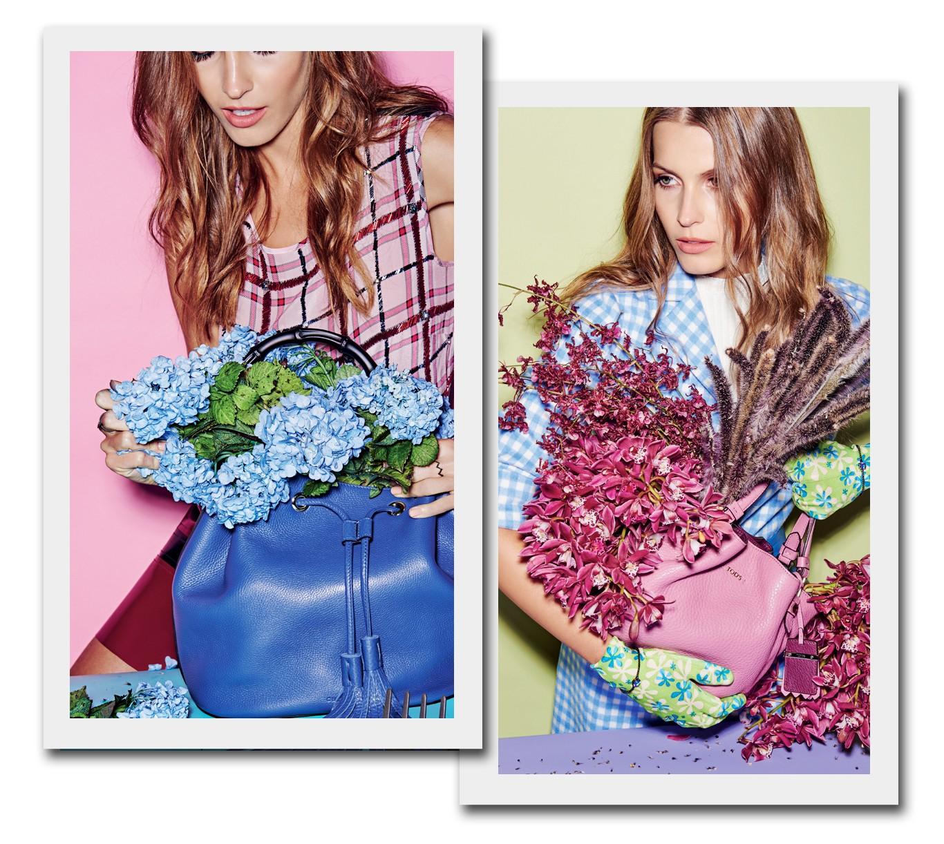 Bolsa Gucci (R$ 8.660), decorada com arranjo do florista Rafaeel Marshal e usada com blusa Max Mara (R$ 1.450) e saia Gloria Coelho (R$ 1.600). Anéis Grifith (mão direita) e Dryzun (mão esquerda). Bolsa Tod's (R$ 4.560), usada com casaco Prada no Trash Chic (R$ 1.499) e vestido Gloria Coelho (R$ 675). Braceletes Silvia Furmanovich (R$ 14.800 cada) (Foto: Thiago Justo Styling Raquel Kavati)