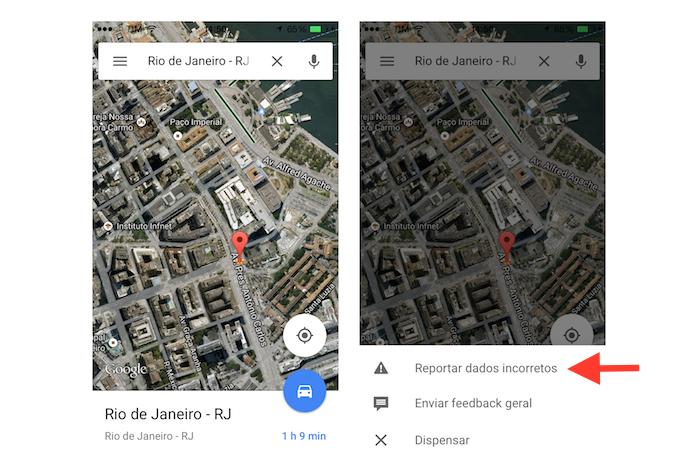 Acessando a ferramenta para reportar erros no Google Maps para celular (Foto: Reprodução/Marvin Costa)