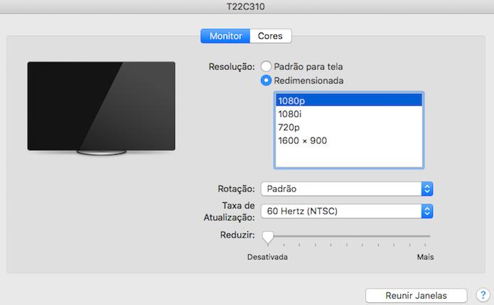 Alterando a resolução de um monitor externo (Foto: Reprodução/Helito Bijora)