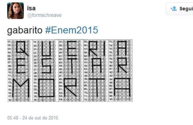 Enem 2015 - Meme - gabarito: queria estar morta. (Foto: Reprodução/Twitter)